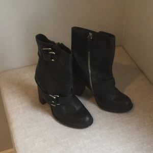 Theory Black Leather Boots with Straps*Like New*39